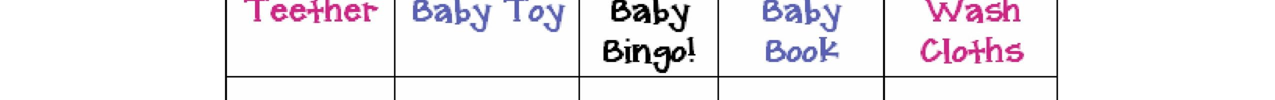 Printable Baby Shower Gifts Bingo